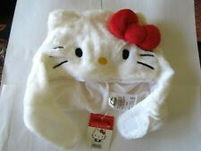 Hello Kitty Beanie Hat White Red Bow Tie Sanrio Fit Adults, NEW