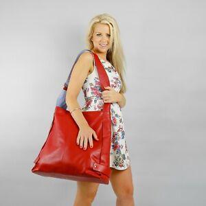 Boulevard Manhattan Large Leather Handbag/Shoulder bag. Lipstick/Lagoon
