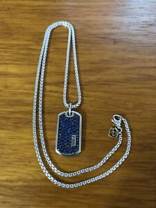 """David Yurman Pave Tag. 35mm Blue Sapphires with 24"""" DY Chain"""