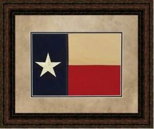 Texas Flag in Double Mat   Framed Historic Texas Flag