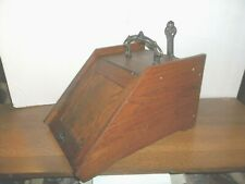 Beautiful Oak Antique English Wood Coal Scuttle  All Original Hardware & Scoop