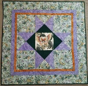 """Butterfly Quilt Wallhanging Green & Purple Homemade 29"""""""