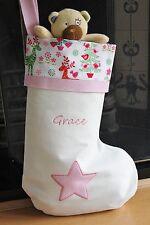 Personalised Girls Xmas Stocking - Extra Large & Embroidered - UK Handmade