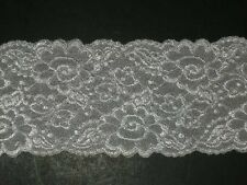 """Vanity Fair white embroidered stretch lace trimming fabric scalloped 2Yx4"""" wide"""