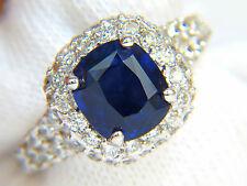 █$16000 GIC NO HEAT 5.38CT NATURAL BLUE SAPPHIRE DIAMONDS RING UNHEATED