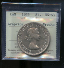 1955 Canada Silver Dollar Coin - ICCS MS-63 - Arnprior with Die Breaks   DCB76