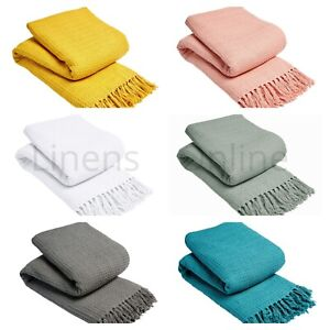 HONEYCOMB 100% COTTON WOVEN SOFA BED SETTEE THROW COVER CHAIR BEDSPREAD BLANKET