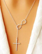 Plain Infinity Cross Pendant 925 Silver Plated Long Chain Necklace Jewelry