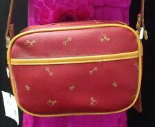 PETUSCO Tan Leather Red Canvas Equestrian Horse Bit Crossbody Bag Purse NEW Cute