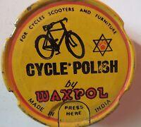 Cycle polish Waxpol  tin box India  Pictorial Bicycle Collectible Original fine