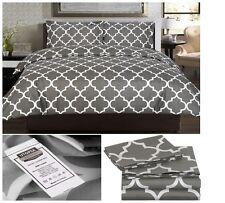 Full Comforter Bedding Sheets Sets Queen Size Grey Cover Duvet + 2 Pillowcases