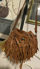 TYLIE RUNWAY fringed hobo Sm.  Leather Cell I phone Case HIPPIE Shoulder Bag