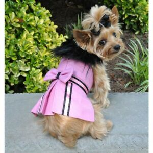 Winter Wool Fur Dog Harness Coat with leash by Doggie Design - Pink & Black XS