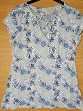 White Stuff Women's Grey Floral Top Size 10 100% Cotton Empire Line Tie Front