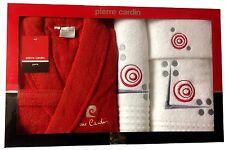 PIERRE CARDIN LUXURY 4 PIECE BATHROBE TOWEL SET EMBROIDERY GREY WHITE RED