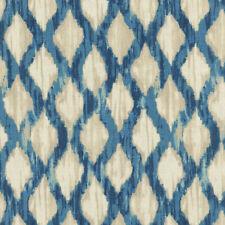 Waverly Floating Trellis Indigo Lattice Ikat Print Drapery Upholstery Fabric