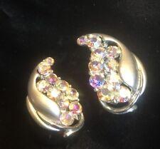 BSK Vintage Signed Glistening AB Rhinestone Clip-On Earrings Brushed SilverTone