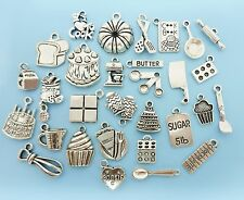 30pcs Cooking Baking Charm Set Lot Collection 30 Silver Cook Baker Chef Pendants