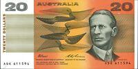 Australian Last 1993 CFU Last Prefix $20 ADK 611594 Paper Banknote issue r415L