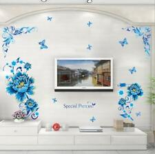 Removable Waterproof Wall Sticker Blue Peony Flower Vine Decal Mural Living Room