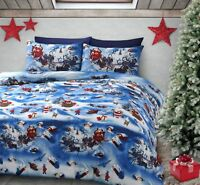 "Traditional ""Christmas Joy"" Duvet Cover Bedding Set Santa Reindeer S/D/K"