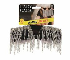 LADY GAGA COSTUME SILVER HANGING CHAINS SUNGLASSES BEJEWELED EYEWEAR ACCESSORY