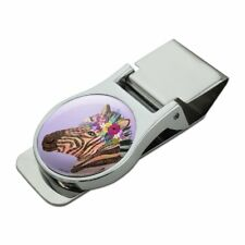 French Garden Flowers Satin Chrome Plated Metal Money Clip