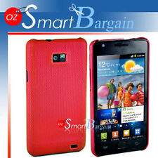 Premium RED MESH Hard Cover Case For Samsung Galaxy S2 i9100 + Screen Protector
