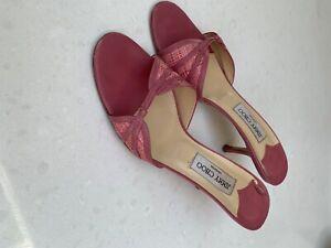 Jimmy Choo Rose Pink Kitten Heel, Backless Sandal Size 7