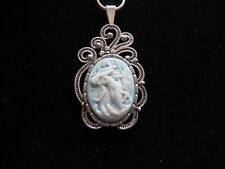 "MERMAID CAMEO PENDANT--ANTIQUE SILVER NECKLACE 18"" CHAIN BLUE"