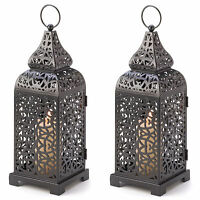 2 Romantic Moroccan Style Tower Votive Pillar Back Iron Candle Lanterns NEW