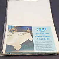 """Vintage Table Cloth Oval White 68""""x90"""" Quaker Knit Perm Press Stain Resistant"""