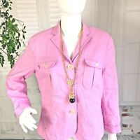 CHAPS Pink Women Linen Short Casual Career Jacket Blazer Front Pocket Size LG