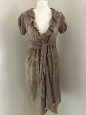 ODD MOLLY Over Dress Size 1 BNWT Lace Mocha Brown Short Sleeve Boho Layer