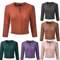 Women's Crewneck Button Down 3/4 Sleeve Knit Crop Cardigan Lady Slim Streetwear