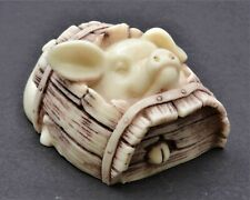 Vintage Cute Pig in the Barrel Netuske. Hand Crafted Okimono Figurine.