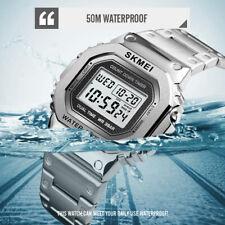 SKMEI Mens Digital Watch Fashion Sports Waterproof Alarm Man Wristwatches Silver