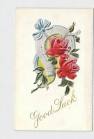 ANTIQUE POSTCARD GOOD LUCK HORSE SHOE ROSES BOW