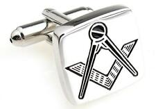 Mason Cufflinks Square Silver Freemason Wedding Fancy Gift Box Free Ship USA