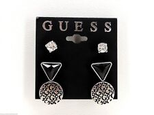 Guess 3 Piece Stud Earrings Set Of 3 Silvertone Crystals Logo Triangles New! NWT