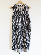 Sussan Size L Black White Geometric Print Sleeveless Viscose Shift Shirt Dress