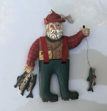 Midwest Imports of Cannon Fa 00004000 lls Wooden Santa Fishing Ornament