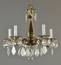 Italian Brass & Crystal Chandelier c1950 Vintage Antique Ceiling Light French