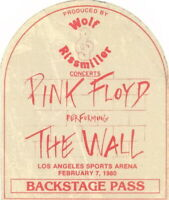 PINK FLOYD 1980 THE WALL TOUR LOS ANGELES SPORTS ARENA BACKSTAGE PASS / EX 2 NMT