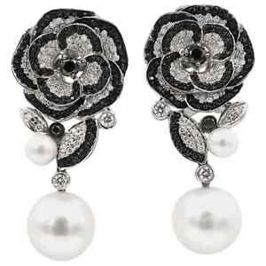 Freshwater White Pearl With Shiny Black Onyx & White CZ 3.70TCW Flower Earrings