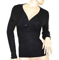 PULL NOIR femme manches longues maillot pullover underjacket élastique nœud A7