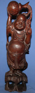 VINTAGE HAND CARVED WOOD BUDAI LAUGHING BUDDHA STATUETTE