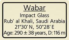 Impactite label Wabar Impact Glass