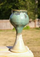 """Hand Thrown Pottery Stemware Goblet Green Dipped Glaze 6 1/4"""" Tall Signed MJ"""