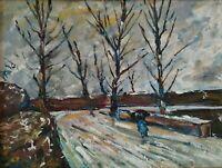 Quadro dipinto paesaggio neve con figure olio su tela firma e autentica 1981